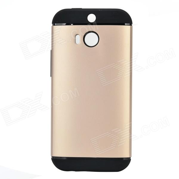 Fashionable Protective PC + Silicone Back Case for HTC ONE 2(M8) - Golden + Black