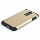 Fashionable Armor Style Protective Silicone + PC Back Case for Samsung Galaxy S5 - Golden + Black