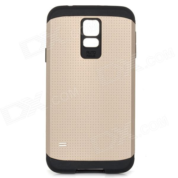 Fashionable Armor Style Protective PC + Silicone Back Case for Samsung Galaxy S5 - Golden + Black
