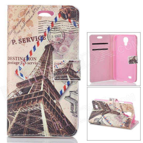 Kinston Vintage Tower Pattern Stylish Flip Open PU + Plastic Case for Samsung Galaxy S4 i9500