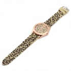 WO MA GE 1085 Leopard Pattern Alloy Case Silicone Band Quartz Analog Wrist Watch for Women - Yellow
