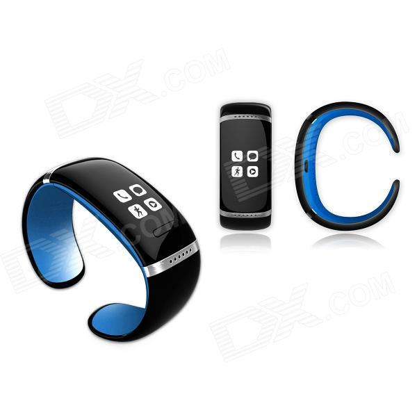 OLED Bluetooth V3.0 Smart Touch Bracelet Watch w/ Music Player / Pedometer - Black + Blue oled bluetooth v3 0 smart touch bracelet watch w music player call answering pedometer black