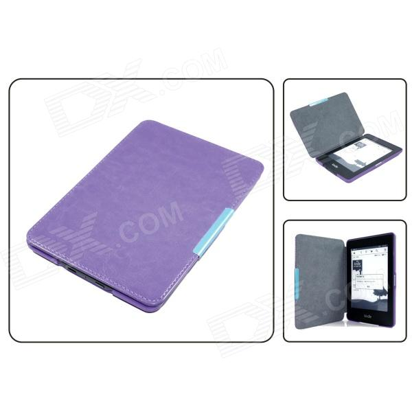 Adsorption Protective PU Leather Case for Amazon Kindle Paperwhite - Purple case cowhide for amazon kindle paperwhite 3 2 1 protective ebook reader smart cover protector genuine leather sleeve 6 cases