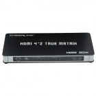 CHEERLINK HTM0402ANR 4-In 2-Out Full HD 1080P HDMI 1.3 True Matrix w/ EU Plug - Black + Silver