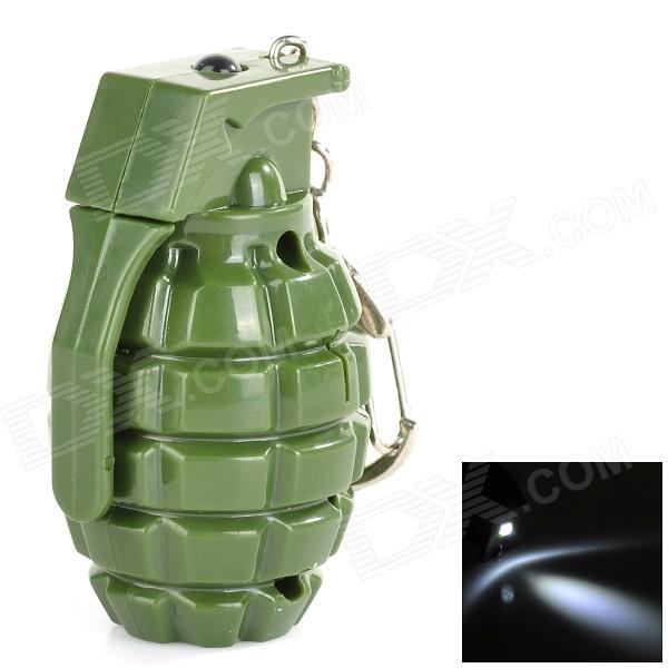 Creative Hand Grenade Style Key Chain with White LED Flashing Light - Green (3 x AG10) cute hippo style plastic key chain w led white light green 3 x ag10