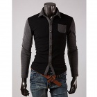 Men's Fashionable Contrast Color Stitching Long Sleeve Polo Shirt - Black + Gray  (Size XL)