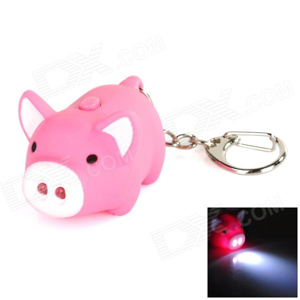 Cute Tiny Pig Style Key Chain with Sound + White LED Flashing Light - Pink (3 x AG10) cute hippo style plastic key chain w led white light green 3 x ag10