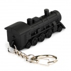 Retro Locomotive Style Key Chain with Sound + White LED Flashing Light - Black (3 x AG10)