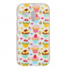 Cartoon Cake Pattern Protective TPU Back Case for MOTO G / DVX - White + Red + Multi-Colored
