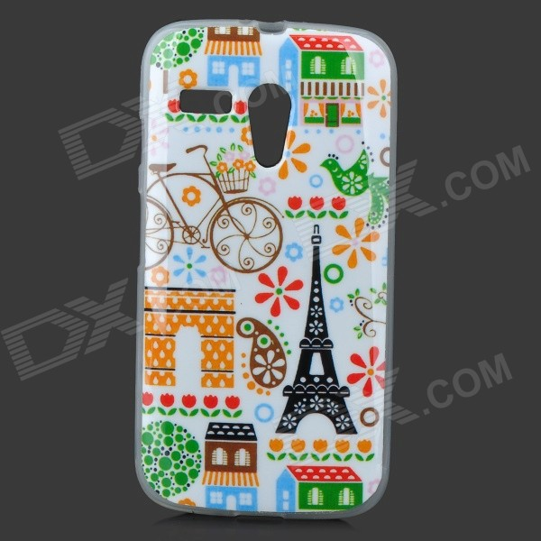 Torre Eiffel Cartoon Pattern protettiva TPU Custodia posteriore per MOTO G - bianco + nero + Multi-Colored