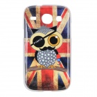 The Union Jack & Owl Pattern Protective TPU Back Case for Samsung Galaxy Core i8262 - Red + Blue
