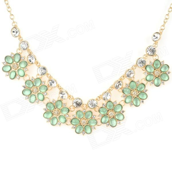 NC-7394 Women's Bohemian Floral Style Rhinestone-studded Pendant Necklace - Golden + Green (23cm) gorgeous 60cm length golden thick braided wheat chain necklace for men