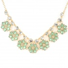 NC-7394 Women's Bohemian Floral Style Rhinestone-studded Pendant Necklace - Golden + Green (23cm)