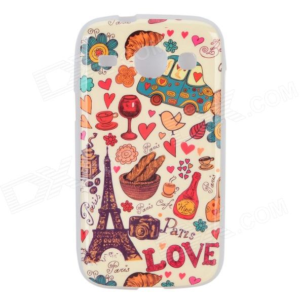 Cartoon Eiffel Tower Pattern Protetcive TPU Back Case for Samsung Galaxy Core i8262 - Yellow + Red