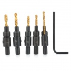 High Speed Steel Cutting Tool 1/4 Hex Shank Drill Bit + Wrench Set - Black + Golden (5 PCS)