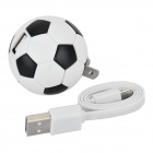 NC-5005 Football Shaped US Plug Power Adapter + USB Cable - White + Black (Cable-35cm)