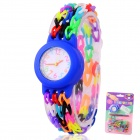 Children's Knitting Silicone Bands DIY Quartz Analog Bracelet Wrist Watch - Blue (1 x 377)
