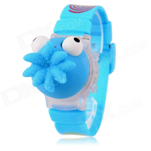 Bambini LED rosso / giallo / verde luce quarzo digitale divertente Octopus Toy Watch - Blue (1 x 377)