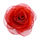EQute Elegant Fashionalbe Solid Rose Flower Headdress Hair Clips / Corsage - Red