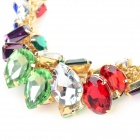 NC-7392 Women's Fashionable Colorful Rhinestone Inlaid Zinc Alloy Necklace - Golden + Multi-Colored