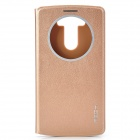 ROCK Protective PU + PC Case w/ Visual Window for LG Optimus G3 - Golden