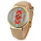 Buy Fashionable Zinc Alloy Casing PU Band Analog Quartz Wrist Watch - Khaki (1 x 377)