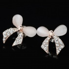 Women's Fashionable Butterfly Shaped Rhinestone Inlaid Opal Earrings - Golden + Transparent (Pair)