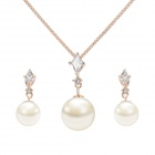 Women's Elegnant Pearl + Zinc Alloy Earrings & Necklace Set - Rose Gold + White