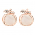PGED001 Women's Elegant Apple Shaped Copper + Opal Ear Studs - Golden + Translucent White (Pair)