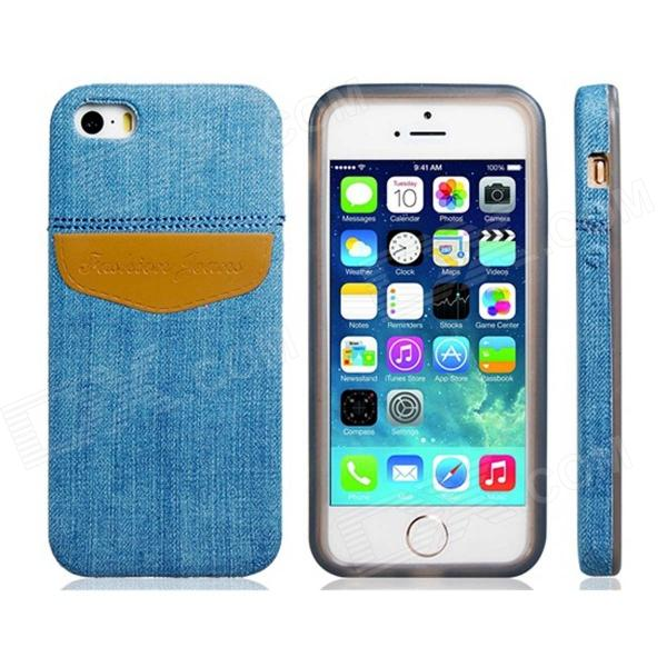 Denim Small Fresh Style TPU Soft Case for IPHONE 5 / 5S - Blue + Brown mercury goospery i jelly for iphone se 5s 5 soft tpu case metallic finish rose