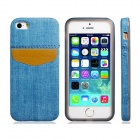 Denim Small Fresh Style TPU Soft Case for IPHONE 5 / 5S - Blue + Brown