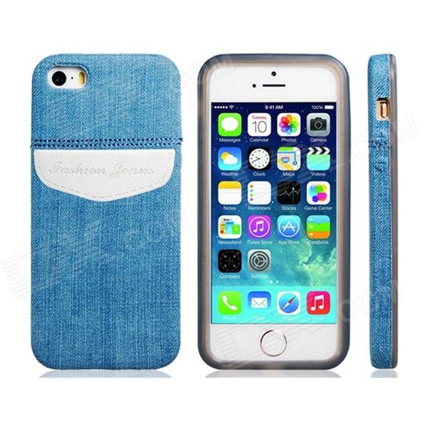 Denim Small Fresh Style TPU Soft Case for IPHONE 5 / 5S - Blue + White