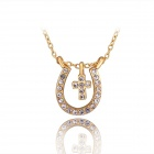 Women's Fashionable Cross Style U Shaped Rhinestone Studded Pendant Necklace - Golden