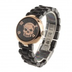 Daybird 3870 Skull Pattern Women's Ceramic Band Quartz Analog Wrist Watch - Black + Rose Golden