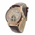 Daybird 3832 Men's Split Leather Band Analog Auto Mechanical Wrist Watch - Brown + Rose Gold