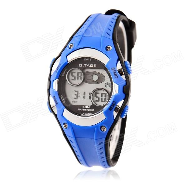 O.TAGE Children's Waterproof Rubber Band Digital Quartz Wristwatch w/ Backlight - Blue (1 x CR2016)