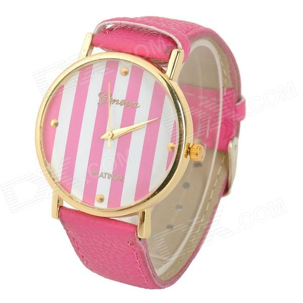 Women's Zinc Alloy Casing Quartz Analog Wrist Watch - Fuchsia + Golden (1 x 377)
