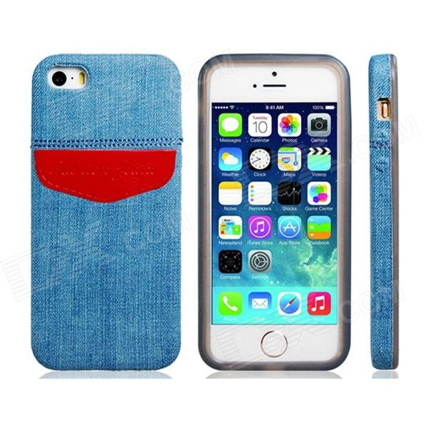 Denim Small Fresh Style TPU Soft Case for IPHONE 5 / 5S - Blue + Red