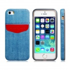 Denim Kleine frischer Art-TPU Soft Case für iPhone 5 / 5S - Blau + Rot