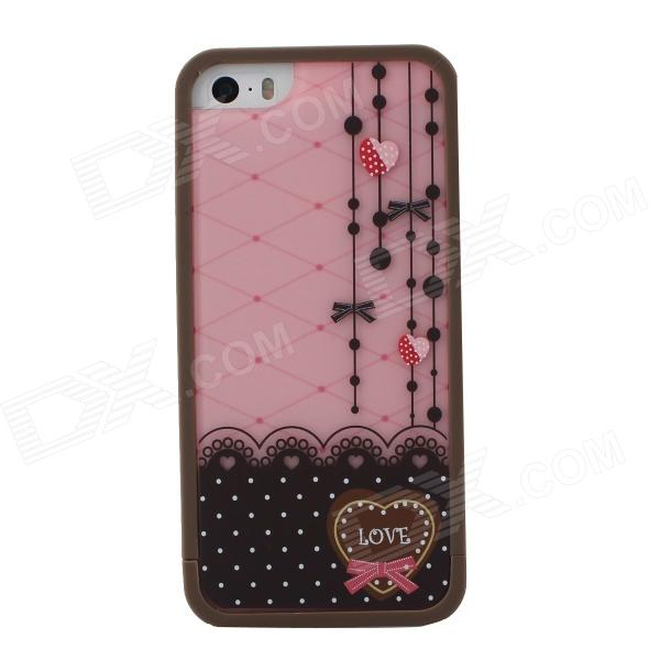 Lace Pattern Heart-Shaped Protective TPU Case Cover for IPHONE 5 / 5S - Pink + Coffee mercury goospery flash powder gel tpu cases cover for iphone se 5s 5 rose