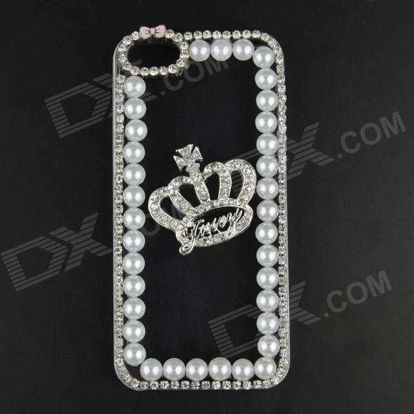 Pearl & Rhinestone Crown Style Protective Plastic Back Case for IPHONE 5 / 5S - Transparent