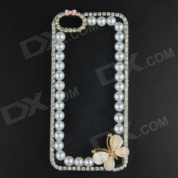 Pearl & Rhinestone Flower Style Protective Plastic Back Case for IPHONE 5 / 5S - Transparent protective heart shape rhinestone decoration back case for iphone 5 brown