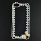 Pearl & Rhinestone Flower Style Protective Plastic Back Case for IPHONE 5 / 5S - Transparent