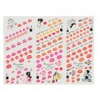 HOT-082-084 DIY 3-in-1 3D Nail Art Decoration Sticker - Multi-Colored