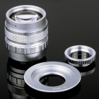 50mm F1.4 CCTV Lens + Macro Rings + C-M4/3 Adapter Ring Set for Olympus / Panasonic Camera - Silver