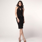 LC6168-2 Fashionable Slim Halter Backless Dacron Midi Dress - Black (L)
