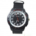 WEIPENG W-8 Men's Outdoor Sports Cloth Band Quartz Analog Wristwatch - Black + White (1 x LR626)