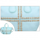 QB-20 Women's Fashionable Single Shoulder PU Leather Bag Handbag w/ Zipper -  Light Blue + Golden