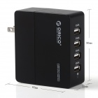 ORICO DCA-4U US Plug 4-Port USB AC Power Charger Adapter for IPHONE / IPAD + More - Black