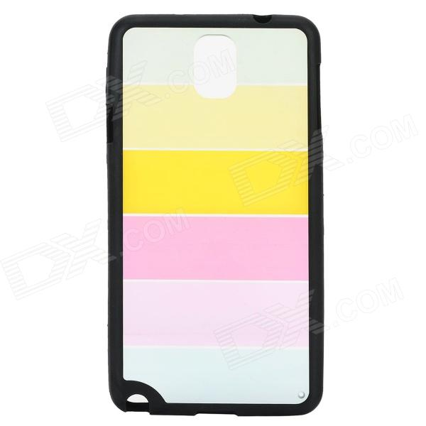 Ultra-thin Protective Plastic Back Case for Samsung Note 3 - Black + Transparent + Multi-Colored